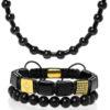Set šperkov z kameňov Triple black gear